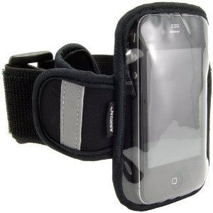 """Navitech Black Neoprene Water Resistant Sports Gym, Jogging / Running Armband Case with """"Light Reflection Strip"""" for the Samsung Galaxy S - Captivate, Samsung Epic 4G, Samsung Vibrant and the Samsung Fascinate"""