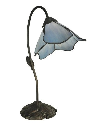 Dale Tiffany TT12145 Poelking 1-Light Blue Lily Table Lamp, 12.0