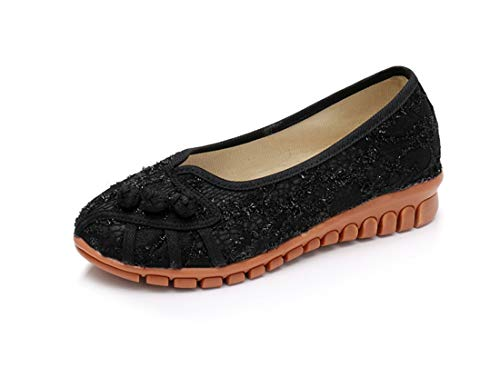 net and Slope Shoes Shoes Flats Wild Embroidered Black Bottom Breathable Beef Ballet Embroidered Cloth Shoes Small Espadrilles Women's Cloth Tendon B4UAKA