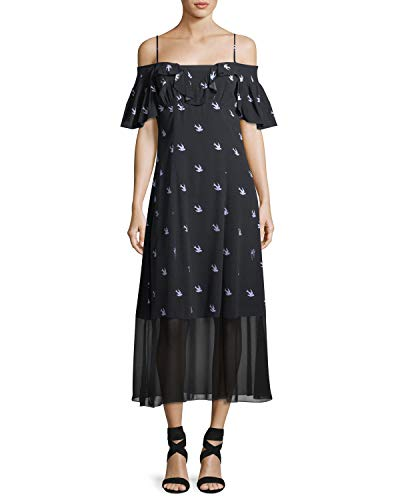 McQ Alexander McQueen Swallow Off-Shoulder A-Line Dress 38 IT (2 US) ()