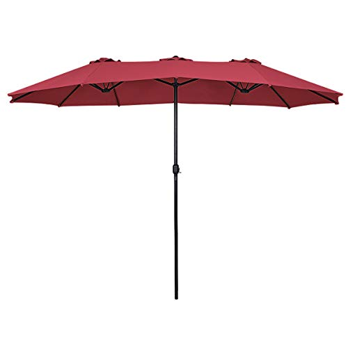 Tangkula 15 Ft Patio Umbrella Double-Sided Steel Outdoor Market Table Umbrella with Crank (Wine) ()
