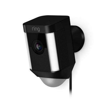 Ring Spotlight Cam Wired, HD Two Way Talk Security Camera Black