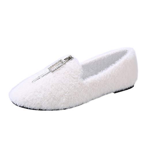 Deloito Herbst Winter Mokassins Damen Mode Bequeme Wander Einzelschuhe Plus Samt Halbschuhe Frontreißverschluss Loafers Runder Zeh Flache Schuhe
