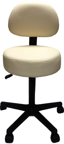 Pneumatic Rolling Adjustable Stool with Removable Backrest (Creme)