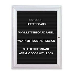 Ghent 36'' x 24''  1 Door Outdoor Enclosed Vinyl Letter Board, Black, Satin Aluminum Frame (PA13624BX-BK) by Ghent