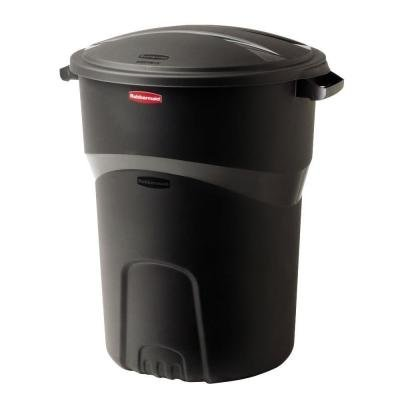 Roughneck 32 Gal. Black Round Trash Can with Lid (2-Pack) -