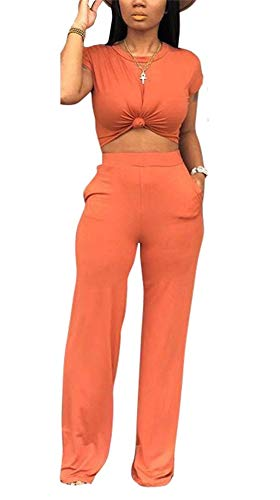 Soft Crewneck Jumper - Women's Casual Crop Top and Flare Long Pants Set Two Piece Romper Jumpsuts Office Work Pockets