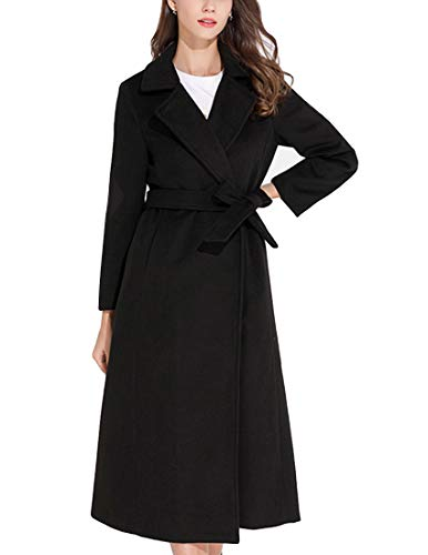 - MFrannie Women Wool Blend Casual Walking Coat Belted Mid-Length Jacket with Lapel Black S