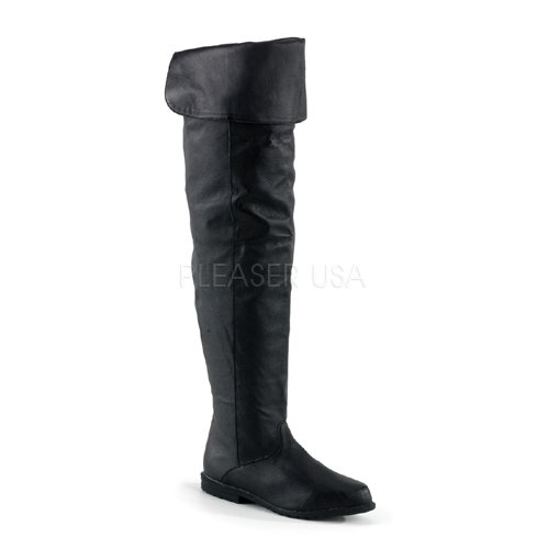 PLEASER RAVEN-8826 Women's Thigh High Boot Over Knee Black Leather Cuffed Collar, Color:BLACK, Size:12 -