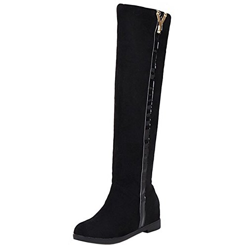 COOLCEPT Damen Hidden Heel Stiefel Ohne Verschluss Black-1