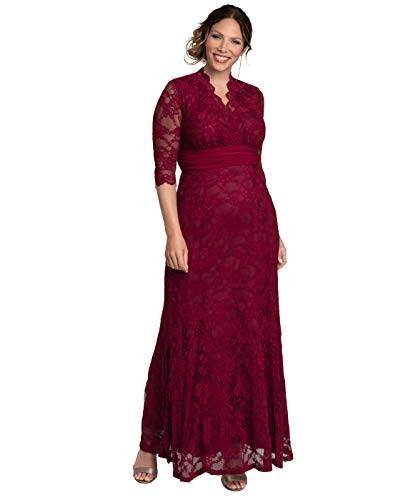 Kiyonna Women's Plus Size Screen Siren Lace Gown 1x Rose Wine