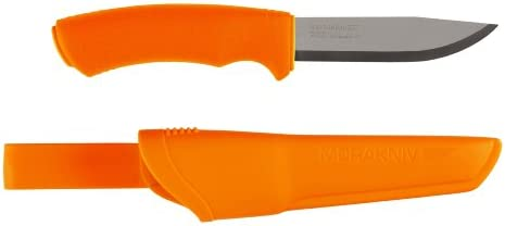 Morakniv Bushcraft Fixed Blade Knife with Sandvik Stainless Steel Blade, Orange, 0.125 4.3-Inch