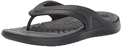 Crocs Unisex Adults Reviva Flip, Black/Slate Grey, M4W6