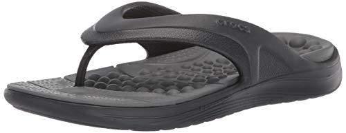 - Crocs Reviva Flip Flop, Black/Slate Grey 4 US Men/ 6 US Women M US