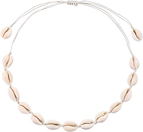 AZORA Summer Love Cowrie Shell Necklace Handmade Woven Adjustable White Seashell Boho Hawaii Beach Choker Jewelry for Women Girls Kids