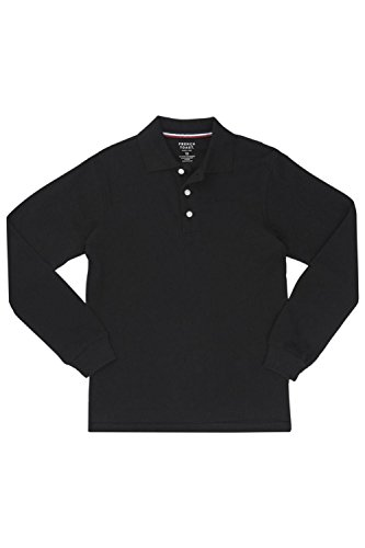 [French Toast Men's Long Sleeve Polo, Black, Medium] (French Toast Long Sleeve Polo Shirt)