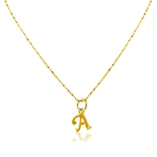 PearlsNSilver Personalized Dainty Initial A Necklace Charm 14K Yellow Gold Over Sterling Silver (A 18