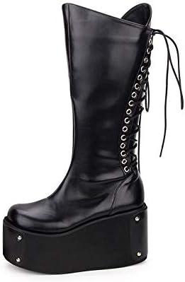LANKOULI Lolita Chaussures d\'hiver Bottes Gothiques Décorées De Style Muffin À Manches Épaisses Bottes À Talons Hauts Et Punk Cosplay Lolita 47