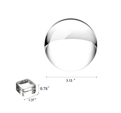 JIHUI Crystal Ball Photography Lensball, K9 Crystal Ball Clear 3-1/5'' (80mm) with Crystal Stand and Pouch for Decorative Photography Prop by JIHUI (Image #1)