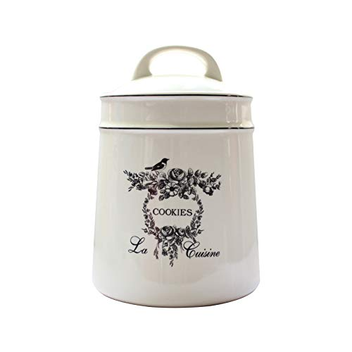 Lonovel Vintage Ceramic Cookies Jars,Retro Bird and Flower Design,Large Kitchen Organization Storage Canister with Airtight Lid,Seal Canister for Food Storage,Store Cookies,Biscuits,Dessert etc,Beige ()
