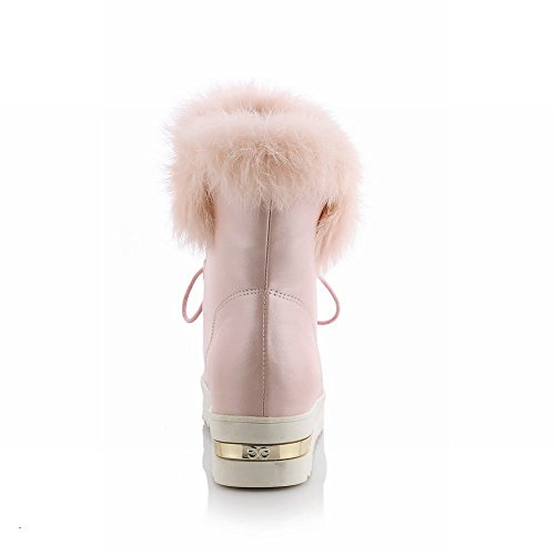 Latasa Womens Cute Warm Faux-fur Decorated Opening Platform Lace-up Mid-heel Short Winter Snow Boots Pink 73rIQzGo2