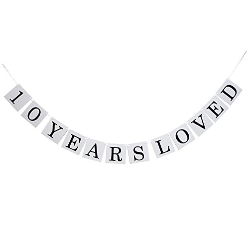 Hatcher lee 10 Years Loved Banner -10TH Birthday Party 10th Wedding Anniversary Party Decoration Bunting (White)]()