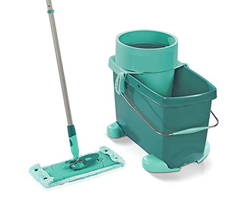 Leifheit Clean Twist M with Rolling Cart, Floor Cleaner, Mop Bucket, Mint Green, 33 cm, 52050
