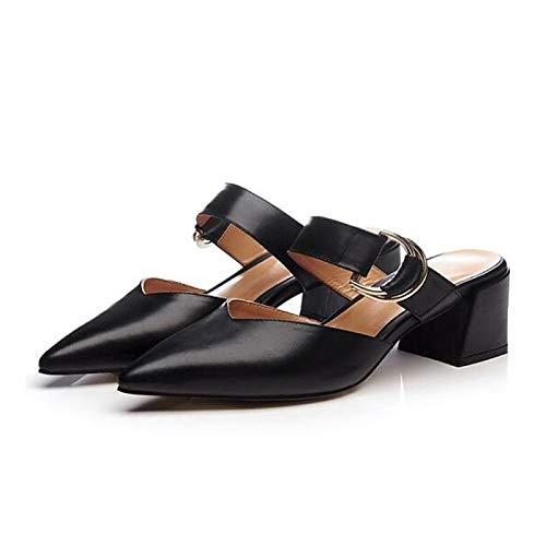 Black Zapatos Comfort Pink Nappa Heel Black de ZHZNVX Leather Mujer Spring Chunky Heels HwcZqx7