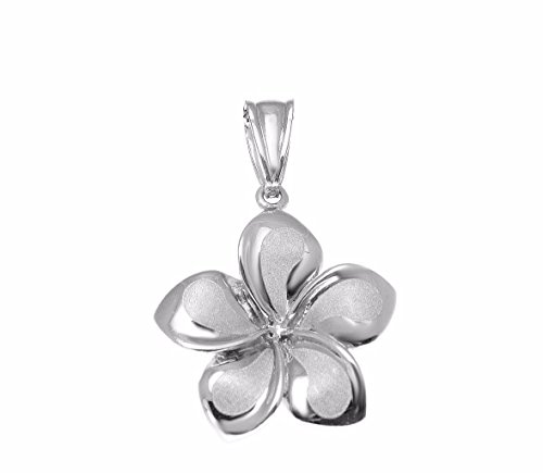 (14K Solid white gold Hawaiian 17mm plumeria flower charm pendant)