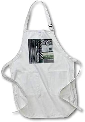 3dRose apr_173607_1 Photo of an Old Barber Shop Poll-Full Length White Apron with Pockets, 22 by 30-Inch