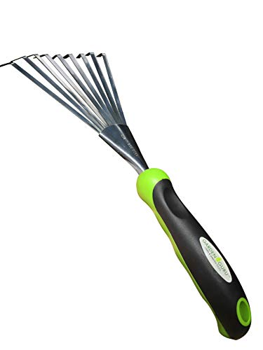 Garden Guru Stainless Steel Hand Rake Soil Tiller with Ergonomic Handle, Great for Gardening, Cultivating, Loosening…