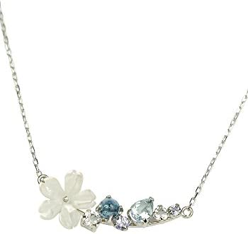 [Four Leaf Clover] White Butterfly Shell Aquamarine Tanzanite 10k Gold Flower Necklace 10k White Gold March November December Birthstone Ma562
