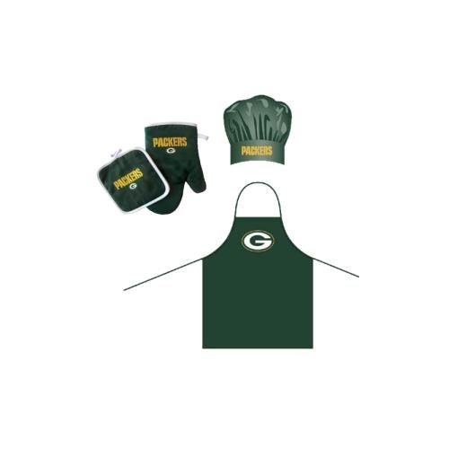 (NFL Green Bay Packers Team Logo Barbeque Apron, Chef's Hat and Pot Holder Deluxe)