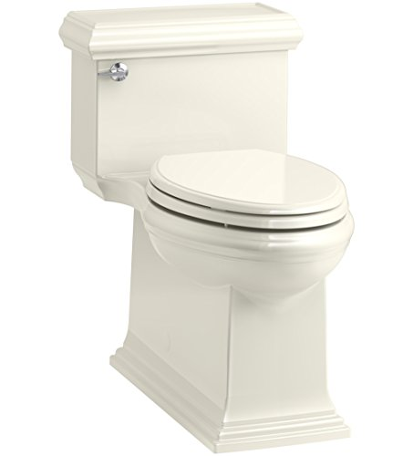 KOHLER K-6424-96 Memoirs Classic Comfort Height Skirted One-Piece Compact Elongated 1.28 GPF Toilet with AquaPiston Flush Technology and Left-Hand Trip Lever, Biscuit ()
