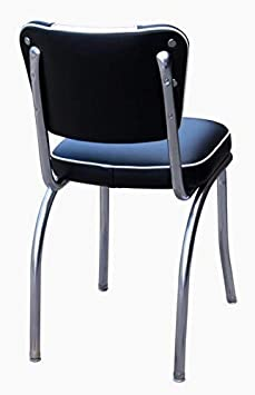 Richardson Seating Retro 1950s V-Back Chrome Diner Chair in Royal Blue and White
