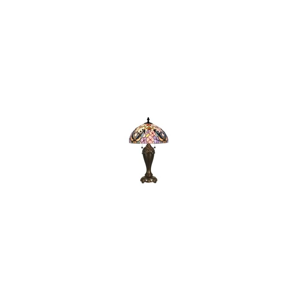 Dale Tiffany Crystal Jewel Peony Art Glass Table Lamp