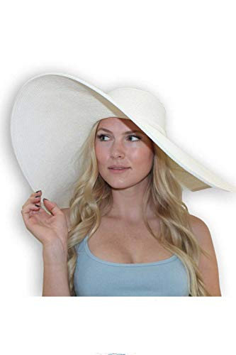 "sungrubbies Scarlet Sun Hat for Women Packable Sun Protection 8"" Derby Large Brim Hat from (X-Large, White)"