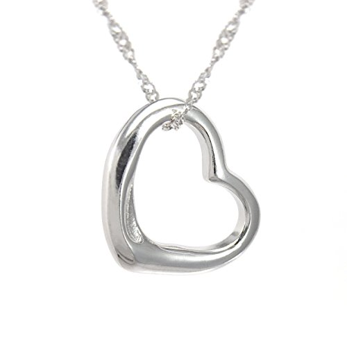Perfect Love Open Heart Sterling Silver Pendant Necklace [Small Size] ()