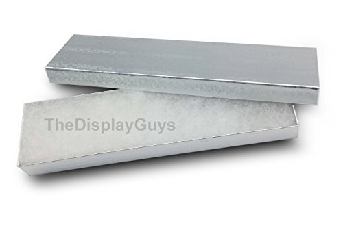 (The Display Guys, Pack of 25 Silver 8x2x1 inches Cotton Filled Paper Jewelry Box Gift Display Case(#82))