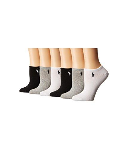 Ralph Lauren Low-Cut Sport Flat Knit Ped Socks 6-Pack, One Size, Grey/Black/White (Lauren Ralph Label Jeans Black)