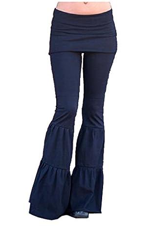 Comfy Women Fashion Solid Color High Rise Wide Leg Pants Black L