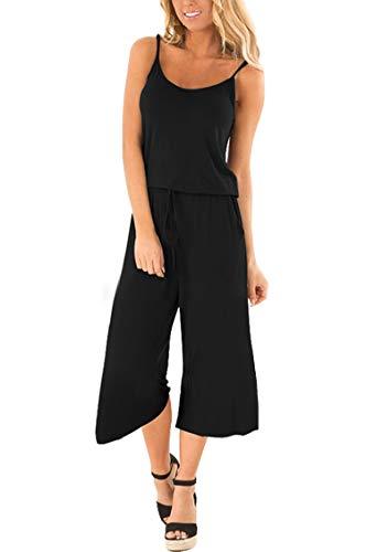 Fixmatti Women Strappy Sleeveless Loose Flares Wide Leg Capri Jumpsuit Black - Cotton Capri Tie