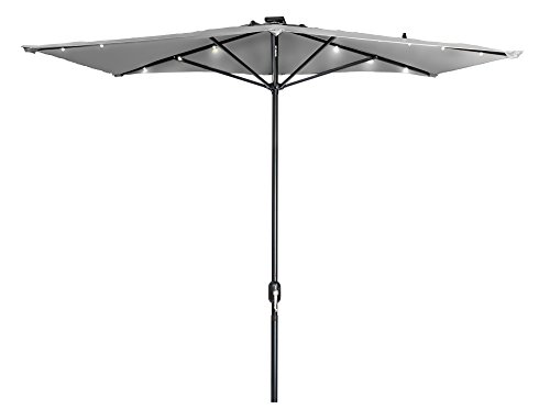 Trademark Innovations 5' x 6.5' LED Rectangular Patio Half Umbrella - (Gray)