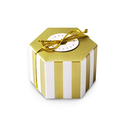 Gold Stripes Candy Box Bulk with Gold Ribbon and Round Card, Hexagon Gold Stripes Style Design for Wedding Candy Box,Baby Shower Box,DIY Chocolate Cookies Case,Birthday Party Supplies Pack of 50