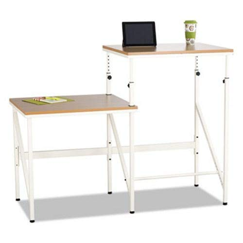 Safco Bi-Level Standing Height Desk, 57 1/2W X 24D X 50H, Beech/Cream by Safco (Image #1)