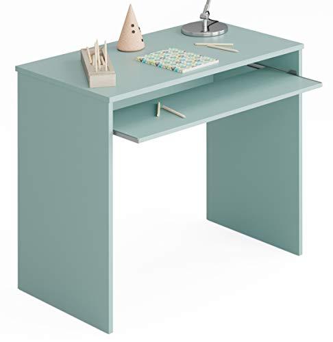 Miroytengo Mesa Escritorio Juvenil Color Verde habitacion Infantil con Bandeja extraible 90x54x79 cm