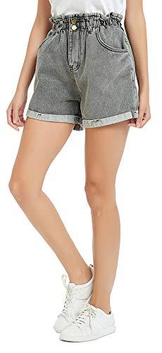 Plaid&Plain Women's High Waisted Denim Shorts Rolled Blue Jean Shorts Stone Wash Grey XL