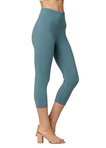 Premium Ultra Soft Womens High Waisted Capri Leggings - Cropped Length - Solid - Sea Foam Blue - Plus Size (12-24)