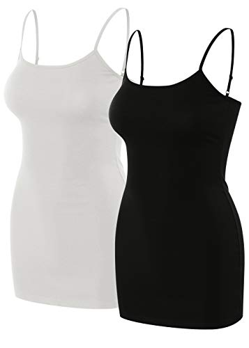 sixth avenue 2 Pack Womens Basic Long Length Adjustable Spaghetti Strap Cami Tank Top Camisole (S~3XL) Black/White -