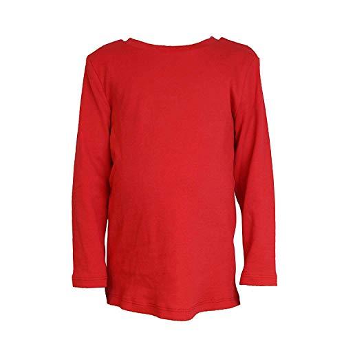 COUVER 100% Soft CottonKids/Children's Crew Neck Long Sleeve Plain Solid Color Shirt-Red